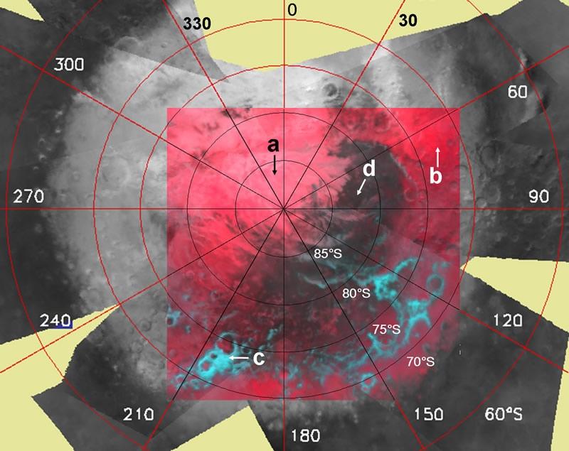 Mosaïque d'images obtenues au milieu du printemps austral à l'aide de 10 observations d'Omega. Credits: ESA/OMEGA/IAS