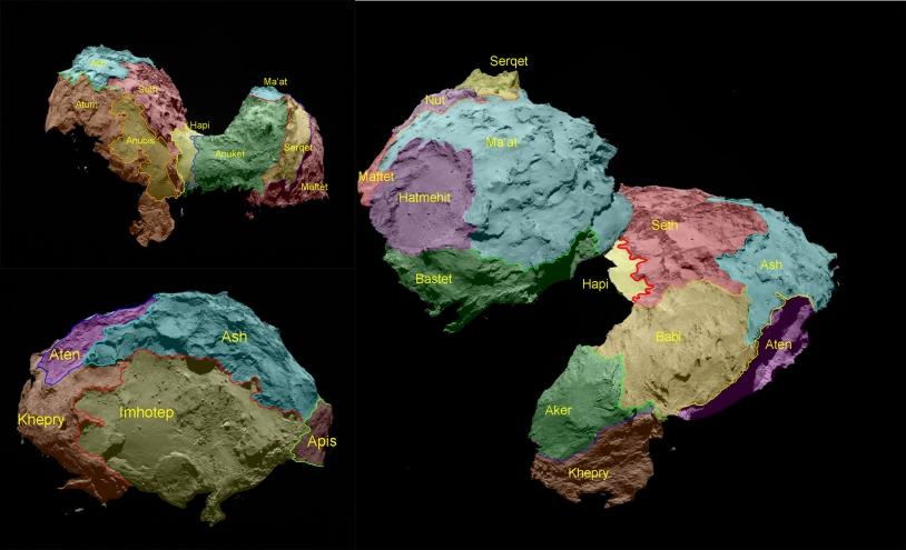 Les régions nommées à ce jour sur le noyau de la comète 67P/Churyumov-Gerasimenko. Crédits : ESA/Rosetta/MPS for OSIRIS Team MPS/UPD/LAM/IAA/SSO/INTA/UPM/DASP/IDA.)