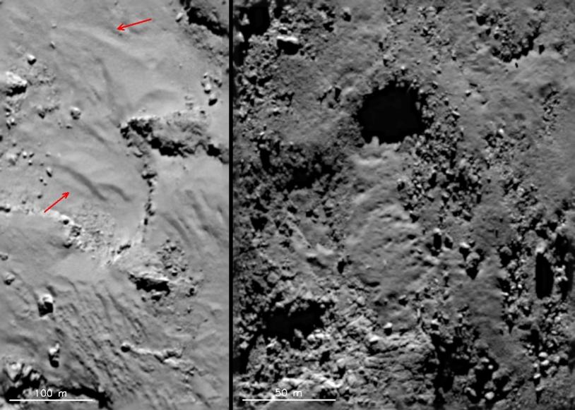 Des formations qui ressemblent à des écoulements à la surface du noyau ; à droite, dans la région de Maftet, l'écoulement semble sortir d'un puits. Crédits : ESA/Rosetta/MPS for OSIRIS Team MPS/UPD/LAM/IAA/SSO/INTA/UPM/DASP/IDA.