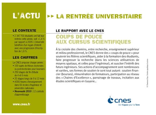 L'actualité du mois vue par le CNES. Septembre 2010