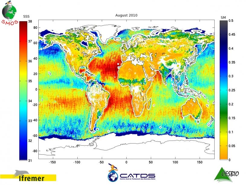 Salinité des eaux de surface obtenue par SMOS en août 2010