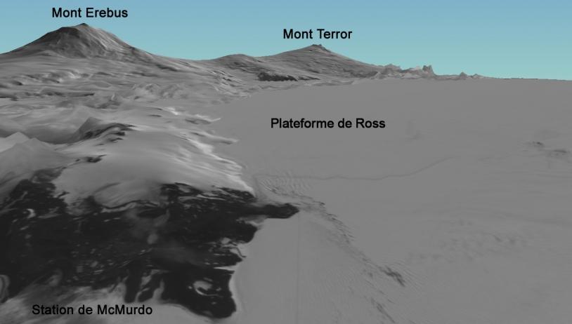 Image 3D de l'île de Ross par Spot 5 - image annotée